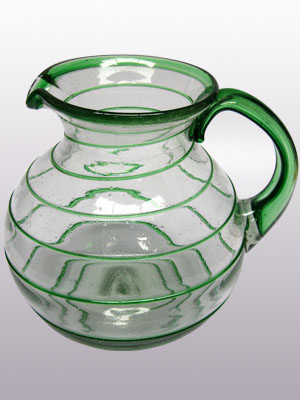 COLORED RIM GLASSWARE / 'Emerald Green Spiral' blown glass pitcher